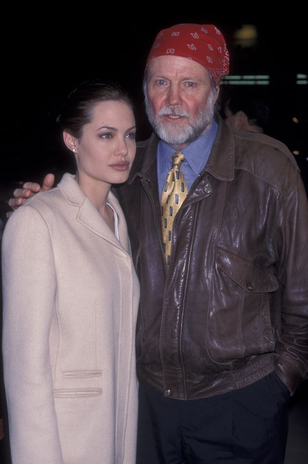 Actress Angelina Jolie and actor Jon Voight attend the world premiere of 'Playing By Heart' on December 10, 1998 at the Acade