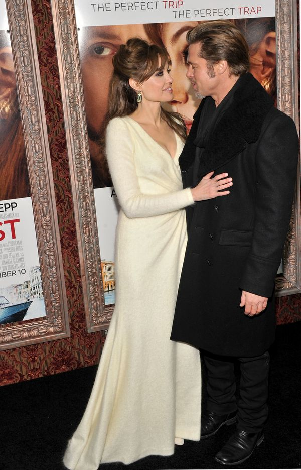 NEW YORK, NY - DECEMBER 06:  Actors Angelina Jolie (L) and Brad Pitt attend the World premiere of 'The Tourist' at Ziegfeld T