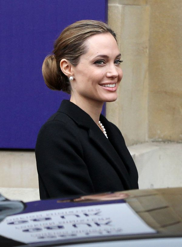 LONDON, ENGLAND - APRIL 11:  Angelina Jolie attends the G8 summit at Lancaster House on April 11, 2013 in London, England.  (