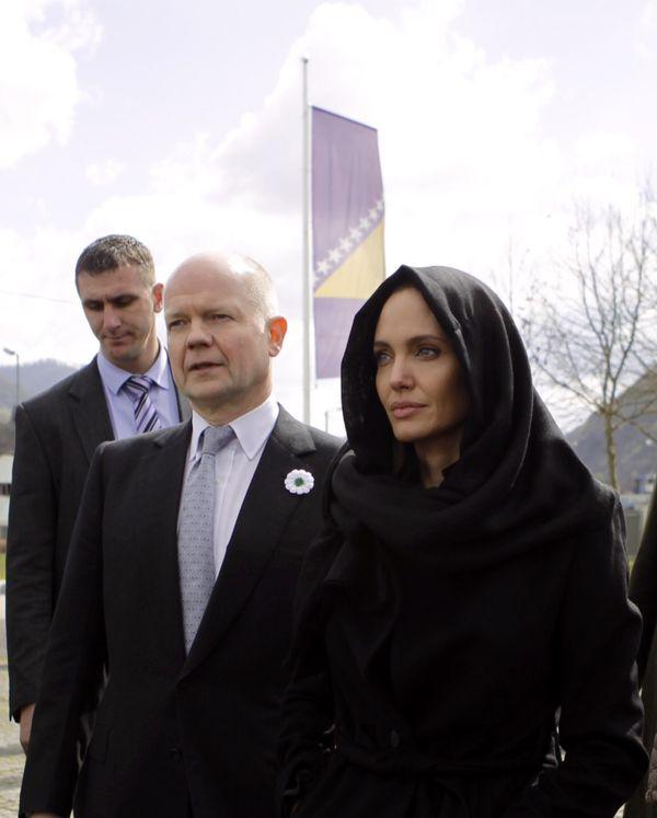 SREBRENICA, BOSNIA AND HERZEGOVINA - MARCH 28: United Nations High Commissioner for Refugees (UNHCR) Special Envoy Angelina J