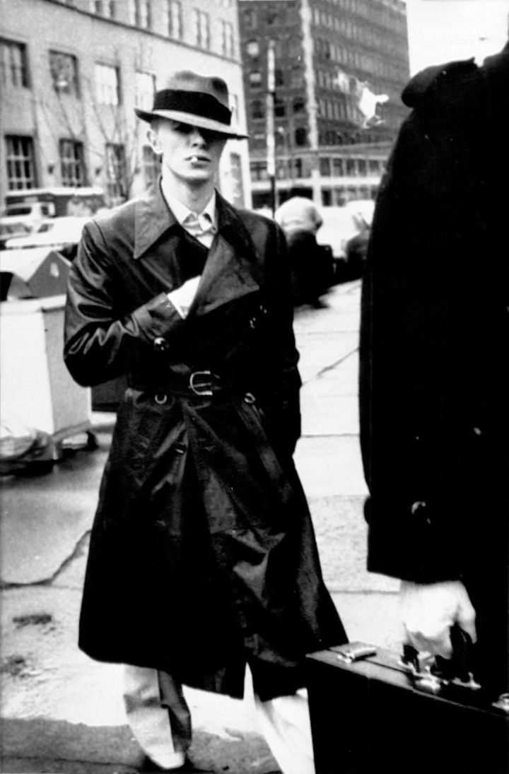 David Bowie visits his attorney before his city court appearance in Rochester to answer to charges of illegal possession of d