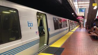 BART train at the Berkeley Station in downtown.