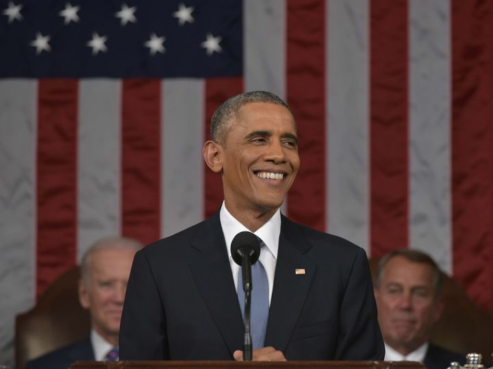 Expect more smiles like this one when President Barack Obama gives hisState of the Union address on Tuesday night.&nbsp