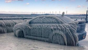 Car frozen in Buffalo, New York.