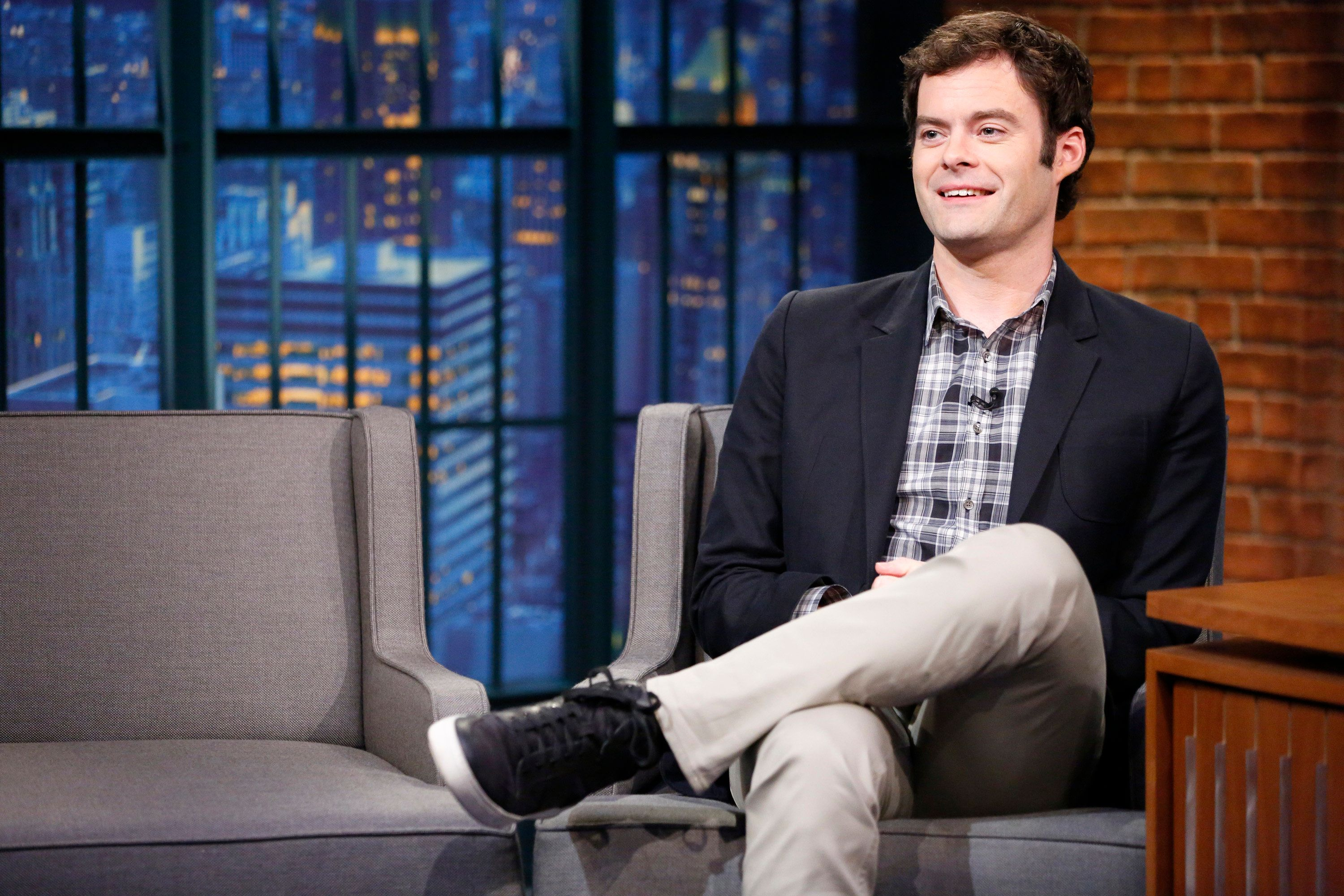 LATE NIGHT WITH SETH MEYERS -- Episode 248 -- Pictured: Actor Bill Hader during an interview on August 17, 2015 -- (Photo by: Lloyd Bishop/NBC/NBCU Photo Bank via Getty Images)