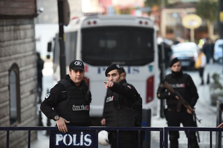 Turkish police cordon off an area in Istanbul. A deadly bombing claimed by the self-described Islamic State killed at least 1