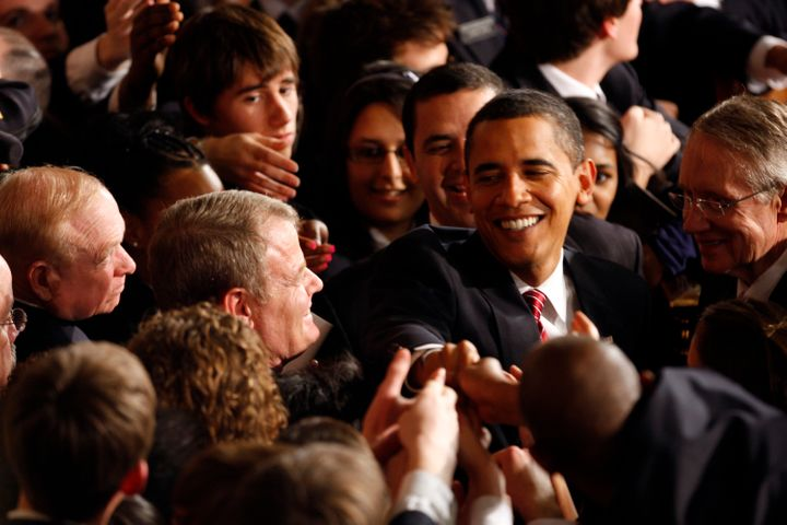 A younger-looking President Obama spoke to a joint session of Congress in February 2009. It wasn't, technically, a State of t