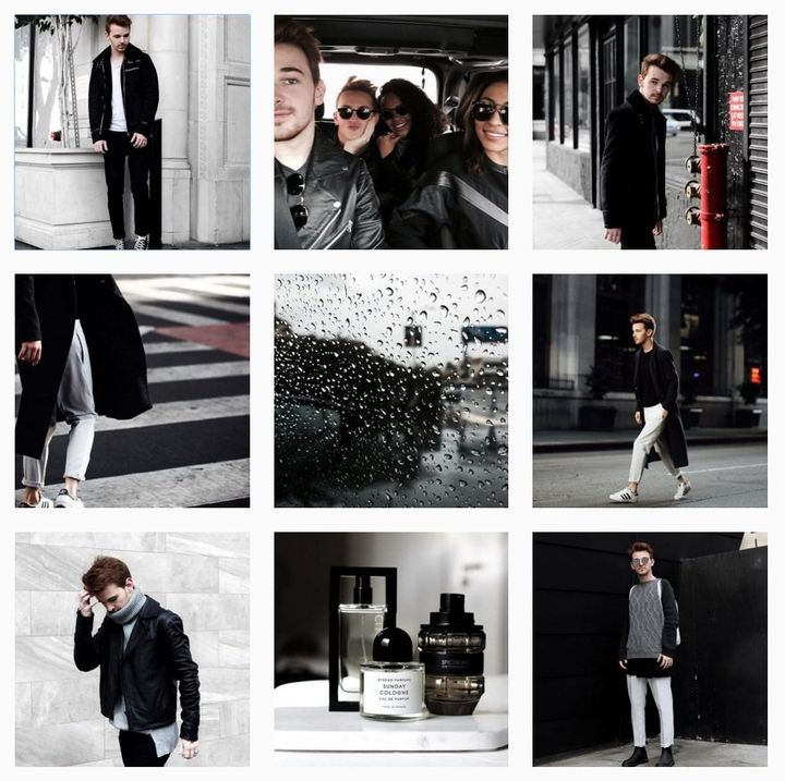 Drew Scott's Instagram feed is cohesive display of muted cool neutrals and black-and-white snaps.