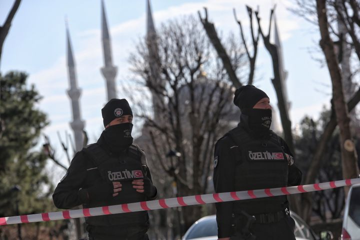 Turkish police secure central Istanbul's Sultanahmet district after the Jan. 12, 2016 bomb blast.