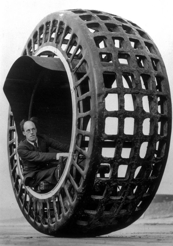 An electrically driven wheel capable of speeds of 30mph being tested on the beach by Mr J. A. Purves of Taunton, who invented