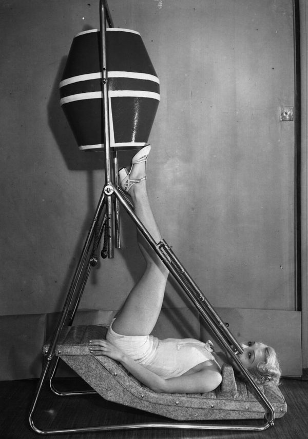 Rosemary Andree keeping fit on the latest exercise device in 1930.