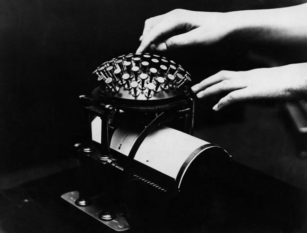 One of the oldest typewriters, which was an invention of a Danish pastor, in1925.