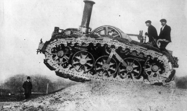 Anearly caterpillar-track farm machine, which was built by Rustin and Hornsby of Lincoln, being used in England in 1902