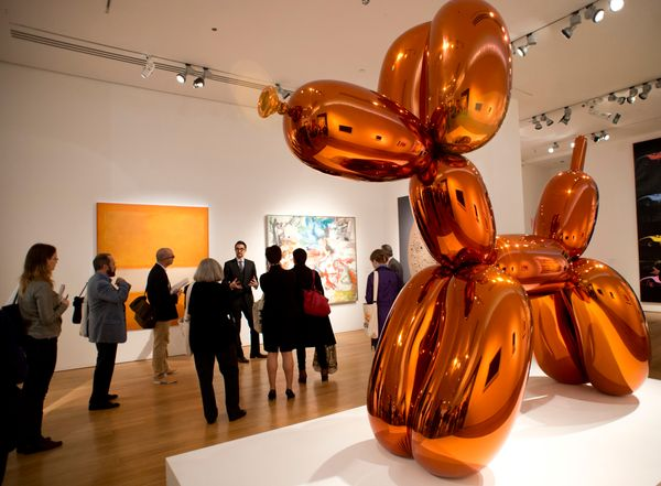 "Jeff Koons' ""Balloon Dog (Orange)"" sold at auction for $54.8 million."
