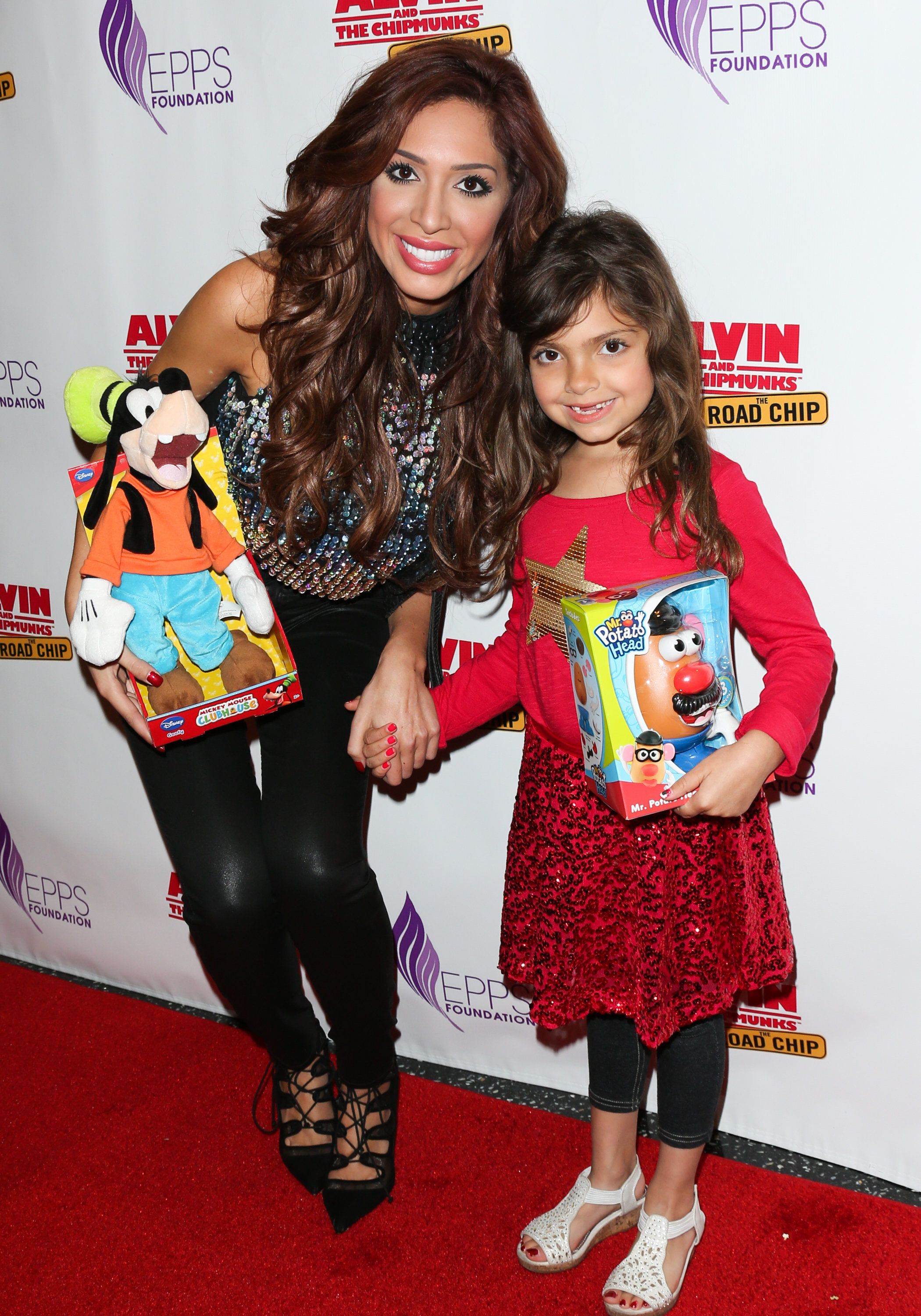 CENTURY CITY, CA - DECEMBER 13:  Reality TV Personality Farrah Abraham (L) and her Daughter Sophia Laurent Abraham (R) attend the celebrity family Sunday funday toy drive and screening of 'Alvin And The Chipmunks: The Road Chip' at AMC Century City 15 theater on December 13, 2015 in Century City, California.  (Photo by Paul Archuleta/Getty Images)