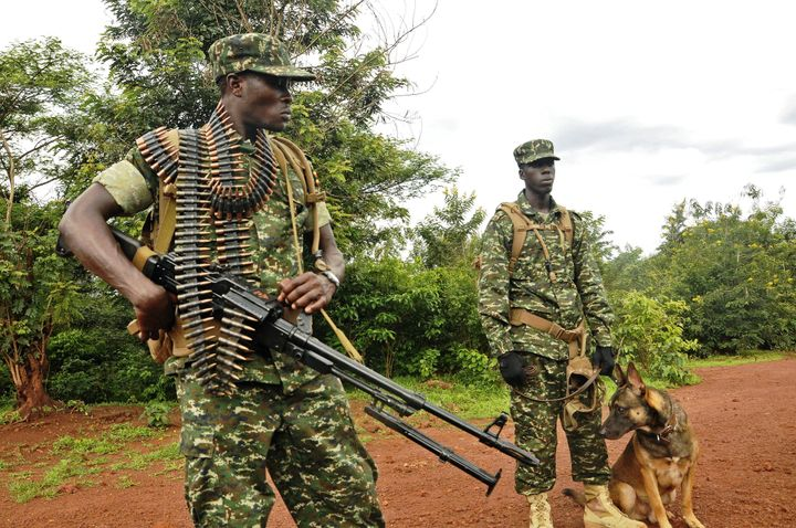 Ugandan militants command patrol as part of a mission to combat the LRA in the Central African Republic, where civi