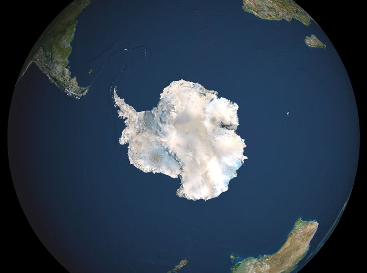 Satellite image of the Earth centered on Antarctica, showing the surrounding Antarctic Ocean.