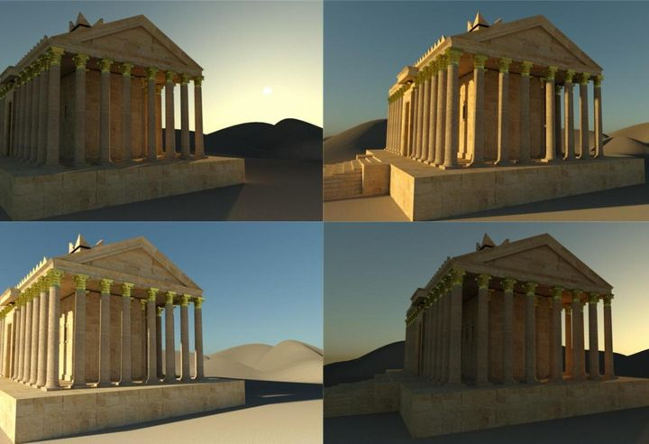 3D model renders of Palmyra's Temple of Bel.