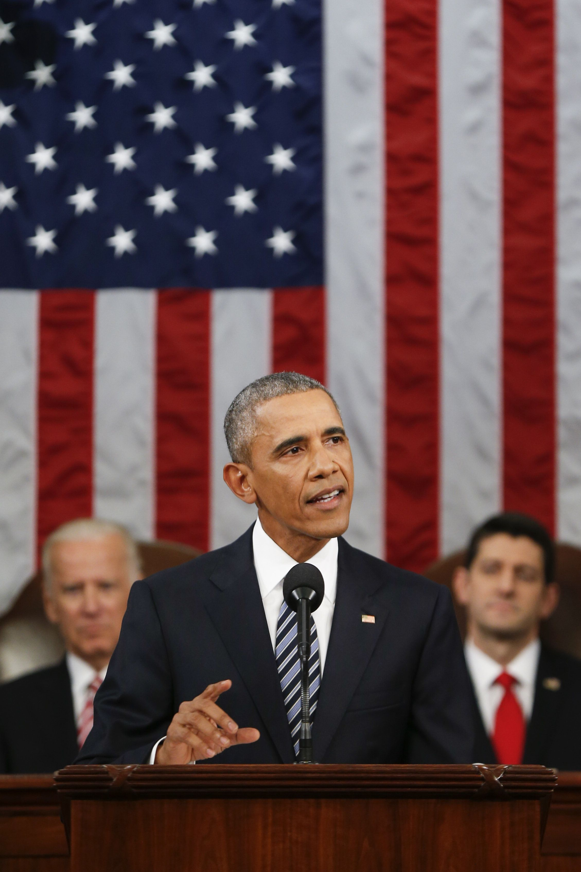 U.S. President Barack Obama delivers the State of the Union address to a joint session of Congress at the Capitol in Washington, D.C., U.S., on Tuesday, Jan. 12, 2016. Obama said he regrets that political divisiveness in the U.S. grew during his seven years in the White House and he plans to use his final State of the Union address Tuesday night to call for the nation to unite. Photographer: Evan Vucci/Pool via Bloomberg