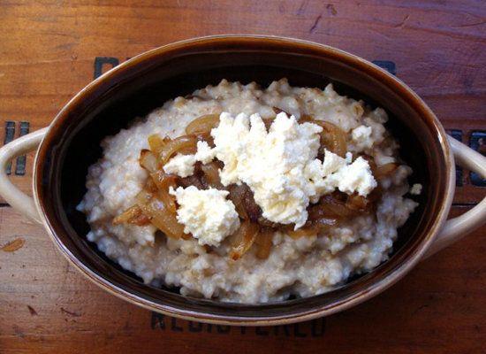 "<strong>Get the <a href=""http://www.injennieskitchen.com/2010/02/steel-cut-oats-caramelized-onions-ricotta/"">Steel Cut Oats w"