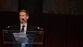 Chris Hughes, editor-in-chief and publisher of The New Republic and a founder of Facebook Inc., speaks during the Paris Review Spring Revel gala in New York, U.S., on Tuesday, April 3, 2012. The Paris Review Spring Revel is an annual gala held in celebration of great American writers and writing. This year's benefit celebrated the literary magazine's 200th issue. Photographer: Amanda Gordon/Bloomberg via Getty Images