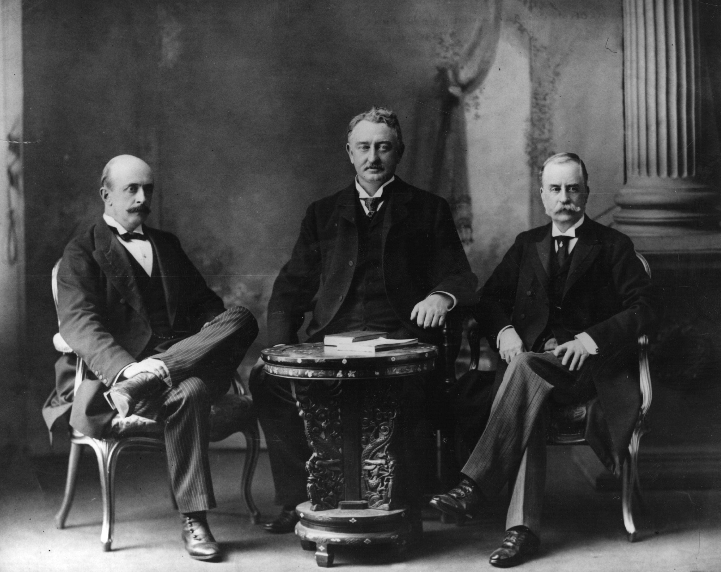 circa 1895:  Albert Henry George, 4th Earl Grey, Cecil Rhodes (1853 - 1892) (centre), and James Hamilton, 2nd Duke of Abercorn (1838 - 1913) (right). Hamilton was Chairman of the British South African Company and Earl Grey the Administrator.  (Photo by Hulton Archive/Getty Images)