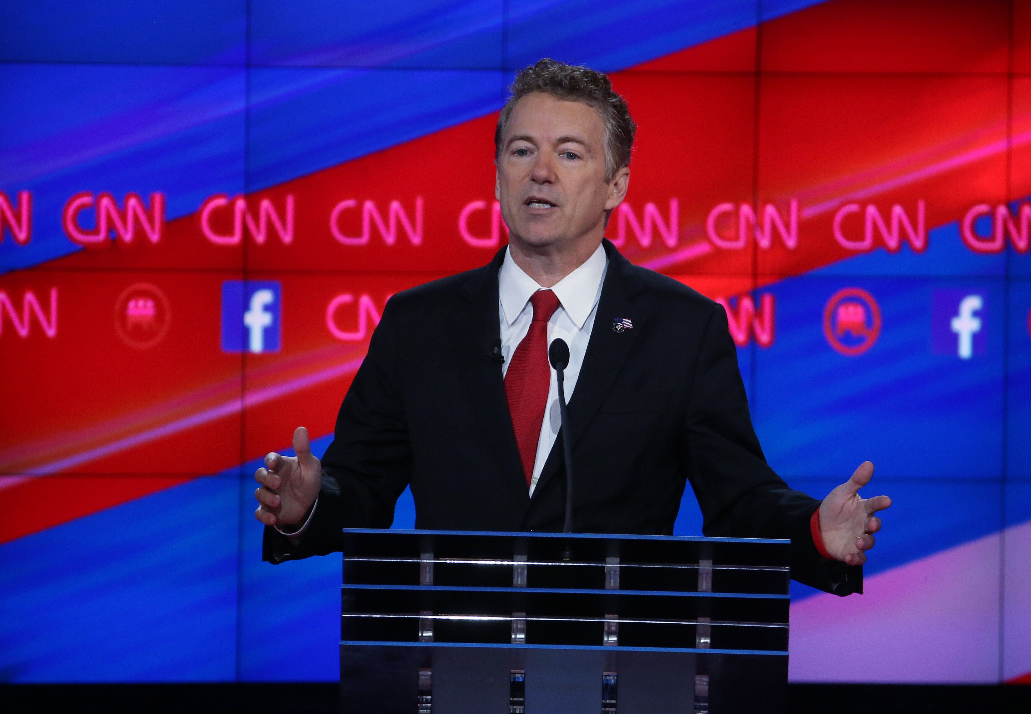 LAS VEGAS, NV - DECEMBER 15:  Republican presidential candidate U.S. Sen. Rand Paul (R-KY) speaks during the CNN Republican presidential debate on December 15, 2015 in Las Vegas, Nevada. This is the last GOP debate of the year, with U.S. Sen. Ted Cruz (R-TX) gaining in the polls in Iowa and other early voting states and Donald Trump rising in national polls.  (Photo by Justin Sullivan/Getty Images)