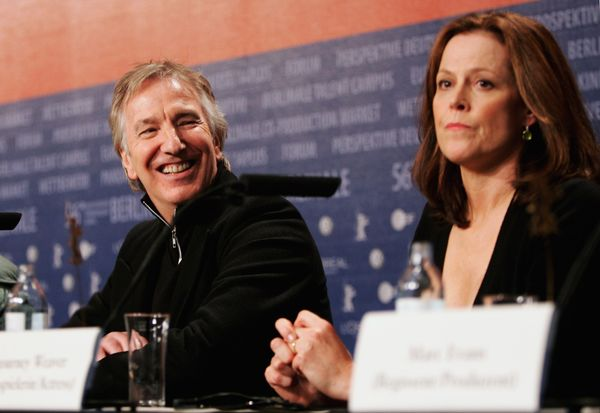 "Actors Alan Rickman and Sigourney Weaver attend the press conference for ""Snow Cake"" as part of the 56th Berlin International"