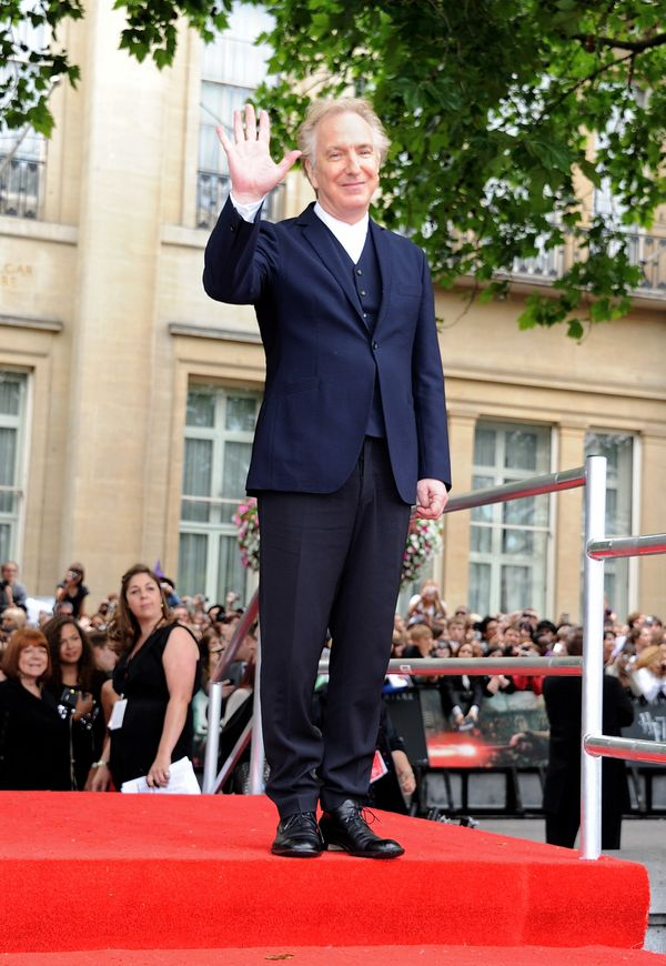 "Actor Alan Rickman arrives at the World Premiere of ""Harry Potter And The Deathly Hallows: Part 2"" in Trafalgar Square on Jul"