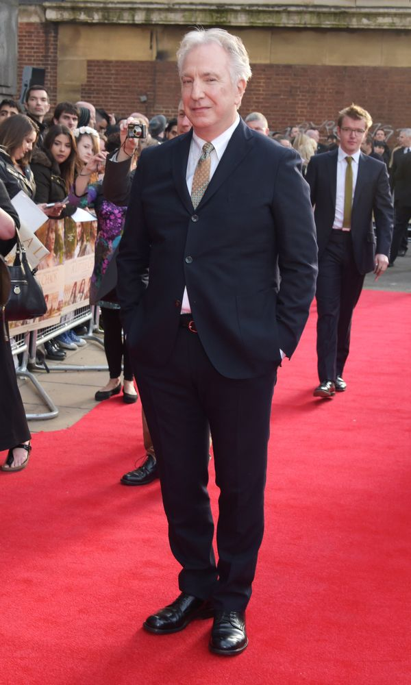 "Actor/Director Alan Rickman attends the UK premiere of ""A Little Chaos"" at ODEON Kensington on April 13, 2015, in London, Eng"