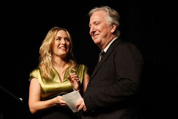 "Actress Kate Winslet and actor/director Alan Rickman attend the ""A Little Chaos"" premiere during the 2014 Toronto Internation"