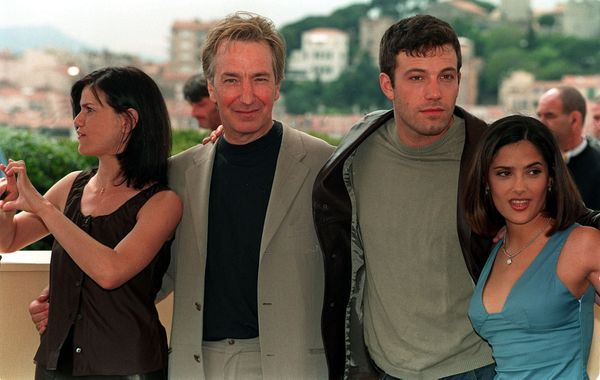 Linda Fiorentino, Alan Rickman, Ben Affleck and Salma Hayek on the rooftop of the Palais des Festivals, promoting their lates