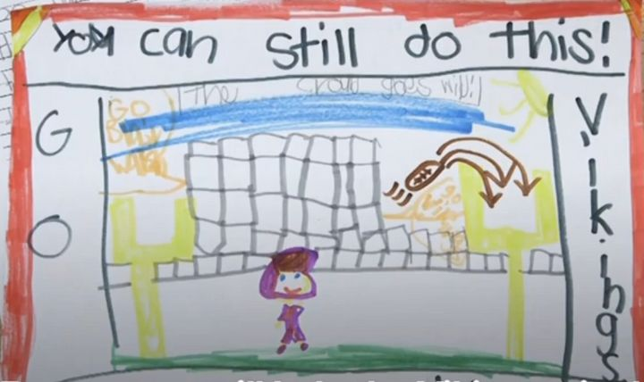 A letterwritten by one of Northpoint Elementary's first grade students, showing empathy for Minnesota Vikings kicker Bl