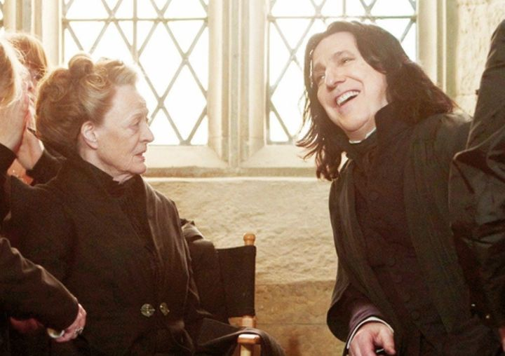 "Alan Rickman and Maggie Smith on set for ""Harry Potter."""