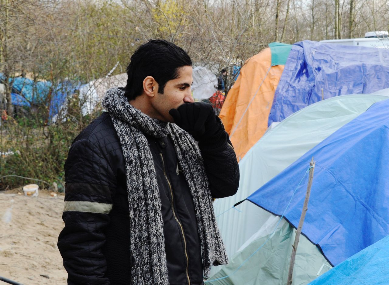 Basem Saedi, 28, has lived in the Grande-Synthe refugee camp for 20 days. He attempts the dangerous crossing into England every night.