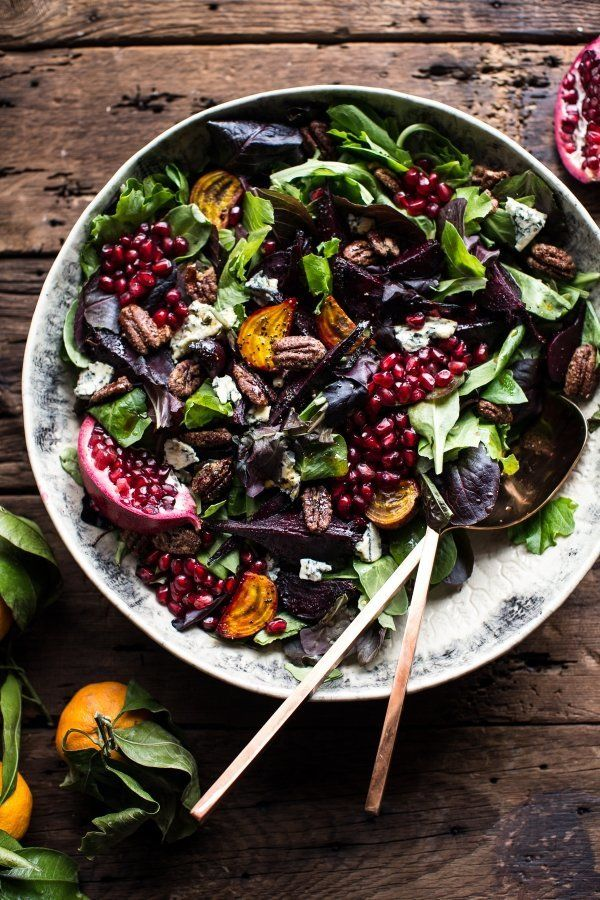 "<strong>Get the <a href=""http://www.halfbakedharvest.com/winter-beet-and-pomegranate-salad-with-maple-candied-pecans-balsamic"