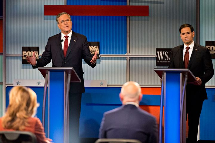 The two GOP presidential candidates hailing from Florida, former Gov. Jeb Bush, left, and Sen. Marco Rubio, right,have