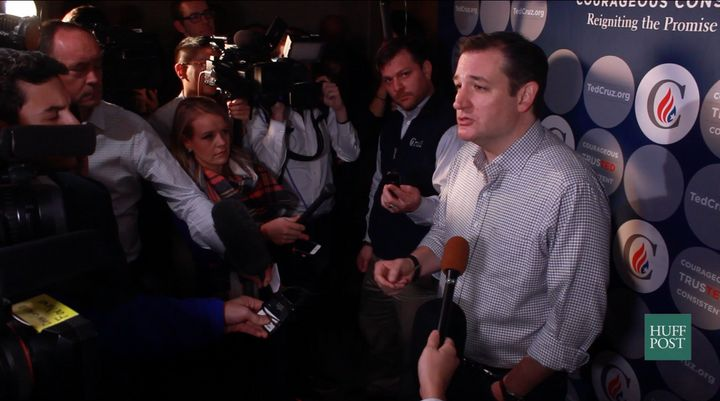 The most interesting bits of news can come from gaggles that candidates do on the campaign trail. Here, Cruz takes questions