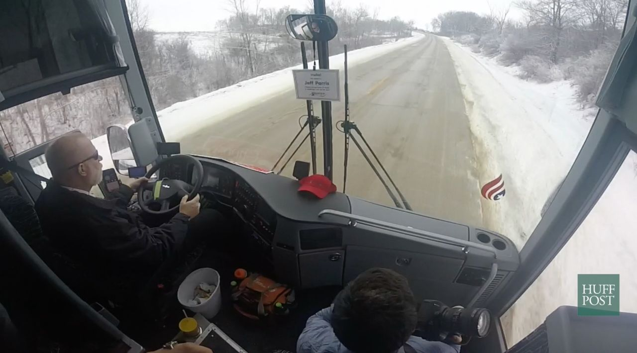 Bus driver Jeff Parris transports reporters from Strawberry Point to Oelwein, Iowa, on Jan. 9, 2016, for a Ted Cruz campaign