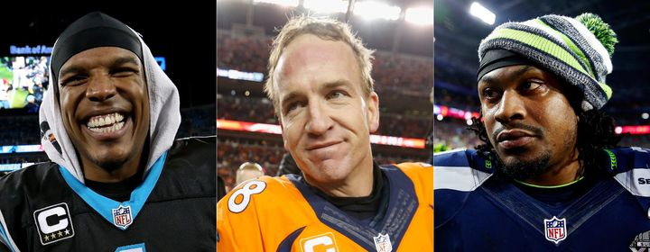 From left to right, Carolina's Cam Newton, Denver's Peyton Manning and Seattle's Marshawn Lynch will all be crucial fact
