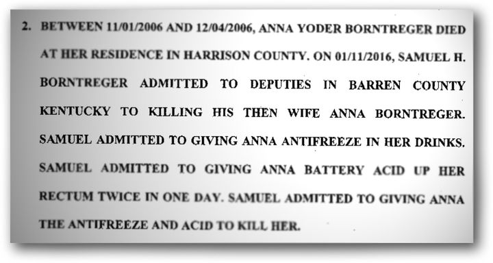 Samuel Borntreger allegedly gave his first wife doses of antifreeze and battery acid.