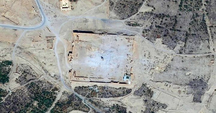 The Islamic State group has since destroyed many of the city's 2,000-year-old monuments. This Sept. 2015 shows an aerial