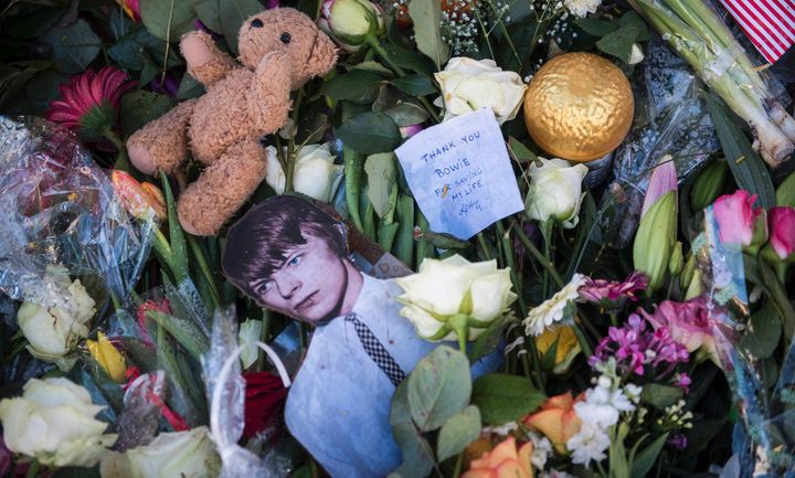 Personal notes and tributes to the British rock icon David Bowie in Berlin on January 14, 2016.