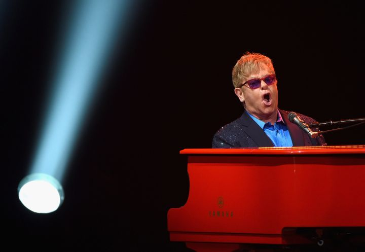 Elton John pays musical tribute to the late David Bowie days after the rock legend's death.