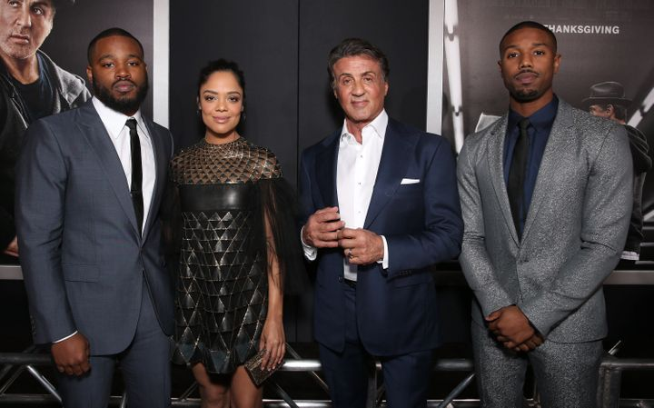 "Writer and Director of ""Creed"" Ryan Coogler and his cast Tessa Thompson, Sylvester Stallone and Michael B. Jordan. Despite th"