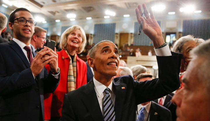 Obama waves goodbye to someone -- perhaps to America? (sniff) -- after his final State of the Union address.
