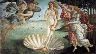 The Birth of Venus, 1484, by Sandro Botticelli (1445-1510), tempera on canvas, 172.5x278.5 cm.