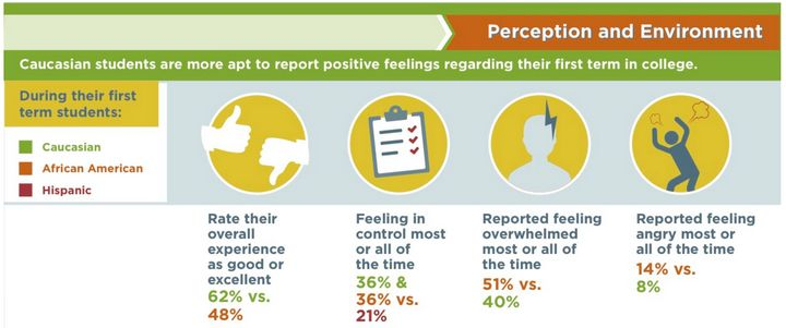 The graphic above shows how Caucasian, African-American and Hispanic students rated their emotionsduring their first te
