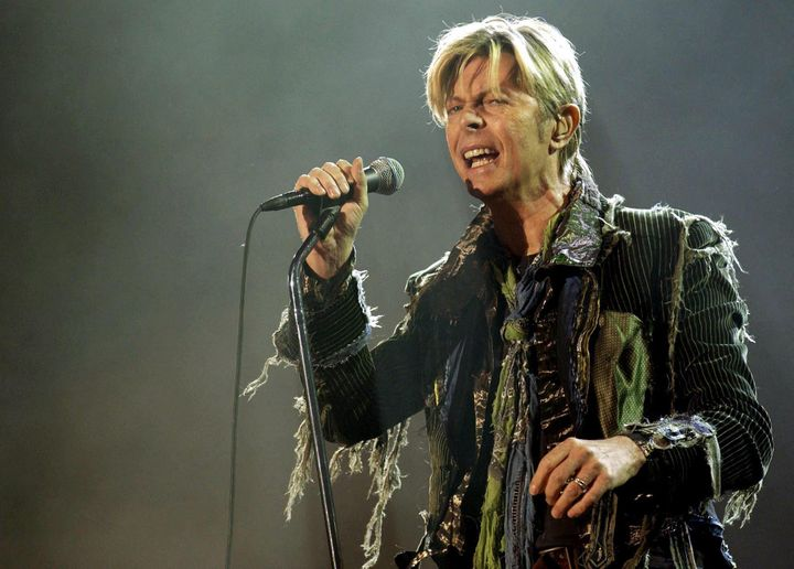 David Bowie, pictured in June 2004, died Sunday following an 18-month battle with cancer.