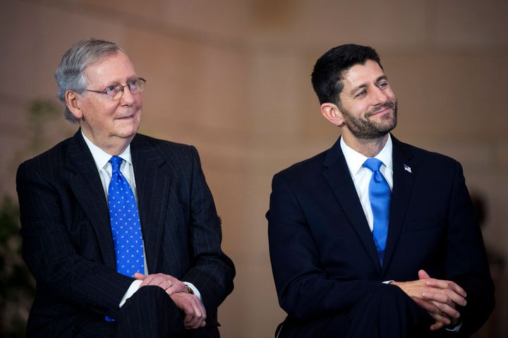 House Speaker Paul Ryan (R-Wis.) and Senate Majority Leader Mitch McConnell (R-Ky.) presented a united front on Thursday, tel